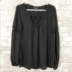 Hale Bob Black Front Tie Tunic Long Sleeve Blouse